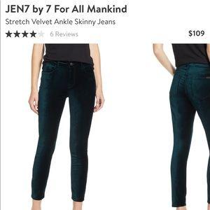 NWT Jen7 Green Stretch Velvet Skinny Jeans Size 10